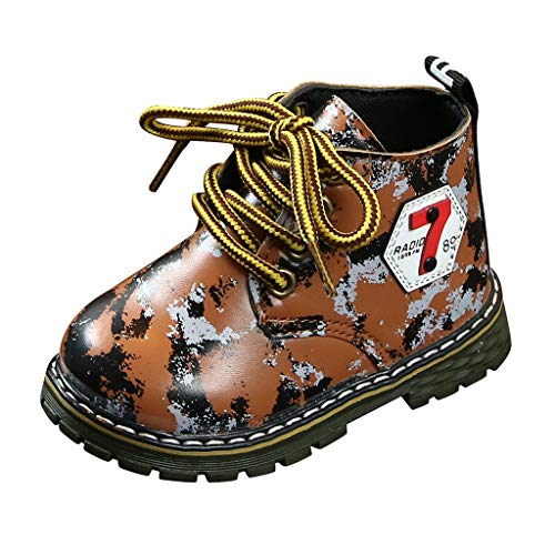 Gleamfut Toddler Baby Camouflage Short Boots Fashion Lace up Non-Slip Durable Thick Bottom Shoes Boys Casual Boots (Boys Lunch Park Trailer Box)