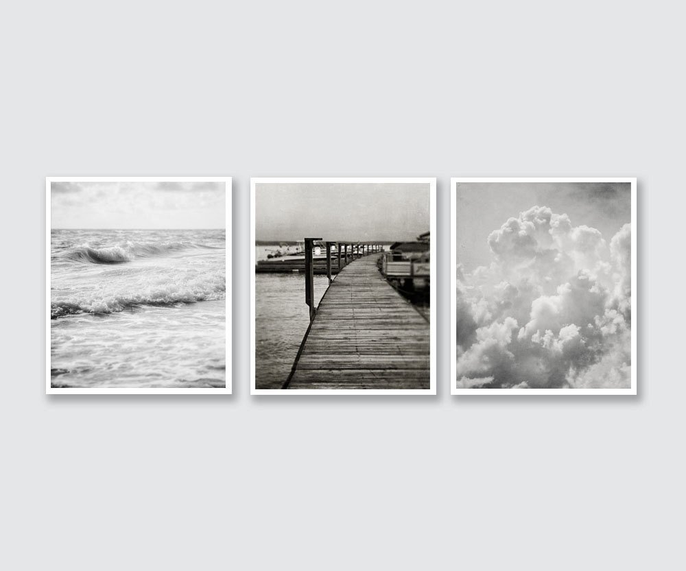 Amazon com black and white bedroom wall art decor set of 3 unframed prints land sea sky 5x7 8x10 11x14 handmade