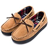 RockDove Women's Memory Foam Moccasin Slippers with Plaid Lining (8 B(M) US, Tan)