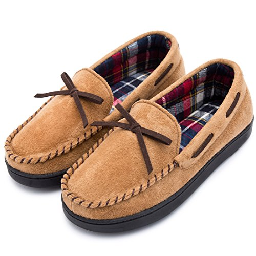 RockDove Women's Memory Foam Moccasin Slippers with Plaid Lining (8 B(M) US, Tan) by RockDove