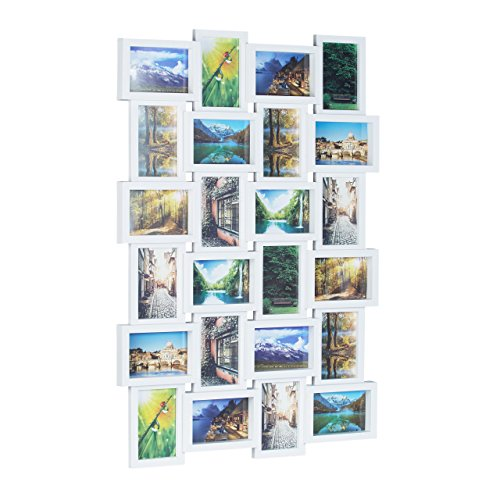 Relaxdays Picture Frame for 24 Photos, Individual Photo Collage, HxWxD: 59 x 86 x 2.5 cm, -