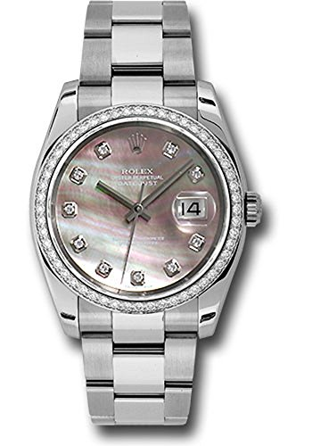 - Rolex Datejust 36mm Stainless Steel Case, 18K White Gold Bezel Set With 52 Brilliant-Cut Diamonds, Dark Mother of Pearl Dial, Diamond Hour Markers, And Stainless Steel Oyster Bracelet.