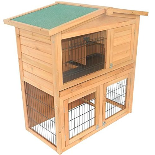 40 in. Wooden Rabbit Hutch with Small Animal House Pet Cage – Brown Review