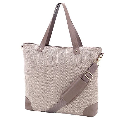(Herringbone Shoulder Tote Bag Faux Leather Trim Can be Personalized (Herringbone -)