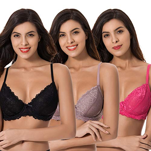Curve Muse Semi-Sheer Balconette Underwire Lace Bra and Scalloped Hems (3 Pack)-Black,Rose,MAUVE-40DD