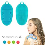 Soft Silicone Body Brush Body Wash Bath Shower Glove Exfoliating Skin SPA Massage Scrubber Cleanser, for sensitive and all kind skins, BPA-free, FDA-approved (Blue)