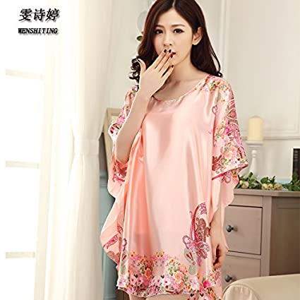 613371736d MH-RITA Woven silk Nightdress fat mm female summer big code loose pajamas  sexy ice