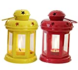 CraftVatika Metal Tealight Holder - Hanging Candle Lanterns - Indoor and Outdoor Black Lantern | Christmas lighting lamp | Christmas Gifts | Set Of 2 (Red & Yellow)