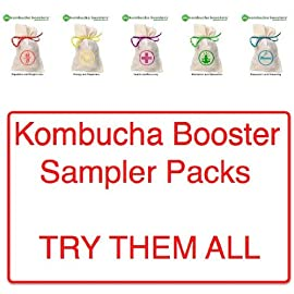 Kombucha Booster Sampler 26 MATERIALS & BENEFIT Health/Recovery: Proprietary Health Fusion Blend: echinacea, lemon balm ~ Proprietary Recovery Fusion Blend: rosehips, hibiscus, le