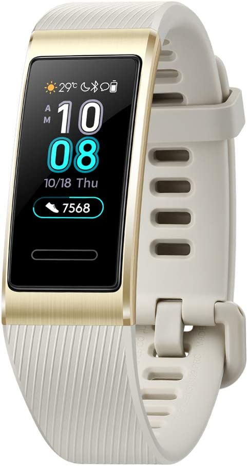 HUAWEI Band 3 Pro All-in-One Fitness Activity Tracker, 5ATM Water Resistance for Swim, 24 7 Heart Rate Monitor, Built-in GPS, Multi-Sports Mode, Sleep Tracking, Gold, One Size