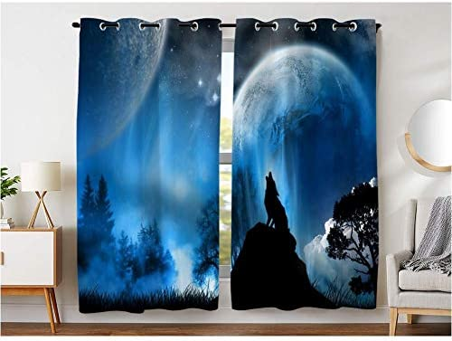 KLRI Curtains Blackout 2 Panel Top Grommet Curtain Darkening Window Coverings 54 x 84 Inch Moon Galaxy Starry Wolf