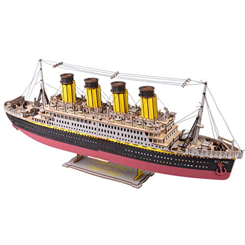 Large Size Titanic Model 3D Wooden Puzzles Cruise Ship Collectible Building DIY Assembly Constructor Kit Collection Gift for Kids Teens and Adults (A3 Titanic)