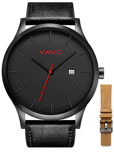 Watch Black Face Leather Band - 2