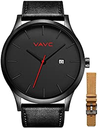 Men's Black Leather Band Causal Analog Dress Quartz Wrist Watch with Black Face and Simple Design