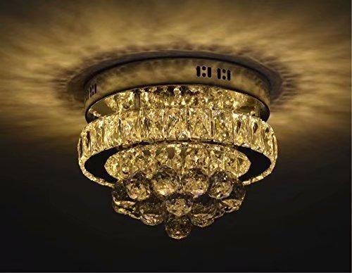 Diam/¨/¨tre: 12 pouces LOCO Mini Cristal Cristal Chic LED Plafonnier Luminaire en acier inoxydable Lustre D/¨/¦cor Parfait pour le couloir//Escaliers//Chambre /¨/¤ coucher//Salle /¨/¤ manger Lumi/¨/¨re blanche
