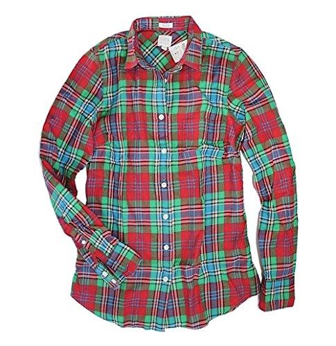(J. Crew Factory - Women's Plaid Patterned Flannel Shirt (Christmas Plaid,)