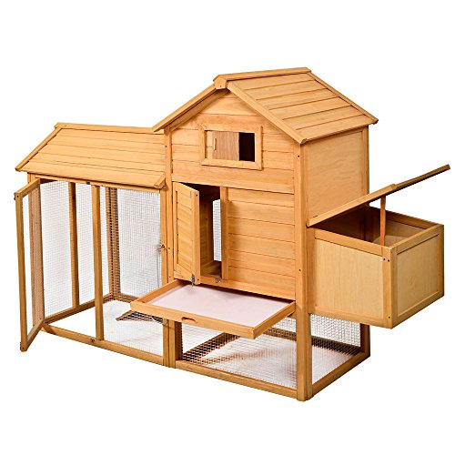 Youzee Deluxe Wooden Chicken Coop Hen House Poultry Cage Hutch With Nesting Box and Outdoor Run (Large Chicken Coop Kit compare prices)