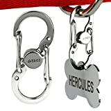 Pet ID Tag Quick Clip - Stainless Steel. Strong & Durable ID Tag Connector for Secure Lock & Hold or Easy-Going Exchange Between Pet Collars.