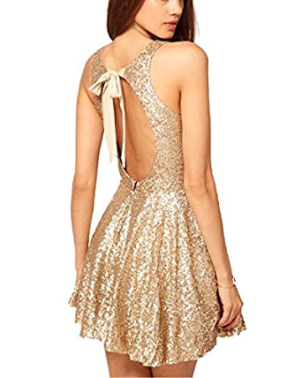Amazon.com: Now and Forever Sequins Open Back Cocktail Dress: Clothing