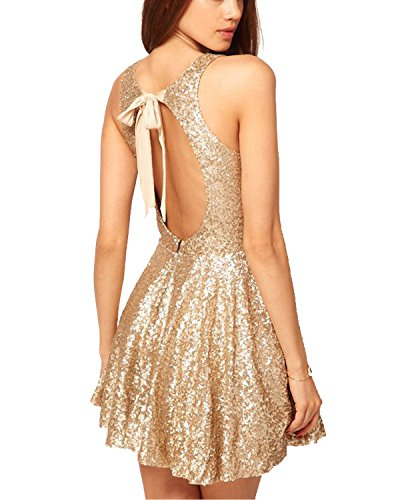 Now and Forever Sequins Open Back Cocktail Dress (12,golden)