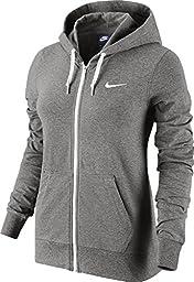 New Nike Women\'s Jersey Full-Zip Hoodie Dk Grey Heather/White/White X-Large