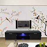 OUTAD High Gloss TV Stand with LED Light and 2 Drawers Console, Modern LED TV Cabinet, Modern Black TV Units, High Gloss Entertainment Center, Living Room Furniture