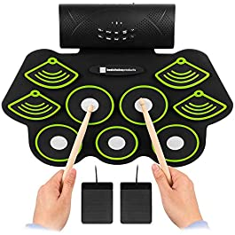 Best Choice Products Electronic Drum Set, Bluetooth Roll Up Portable Practice Pad Kit w/Built-In Speakers, Drum Pedals…