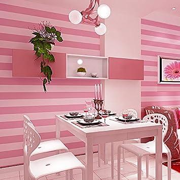 LXPAGTZ Moderne und einfache vertikale Streifen Tapete rosa ...