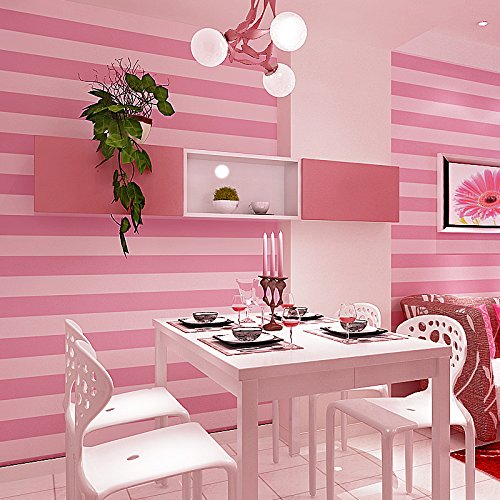 Modern and simple vertical stripes wallpaper pink Princess room bedroom children's room warm girl long 9.5m wide 0.53m nonwoven wallpaper, pure wallpaper