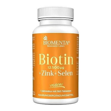 Biomenta BIOTINA dosis alta 12.500 µg + Cinc + Selenio - 365 VEGANO pastillas de biotina