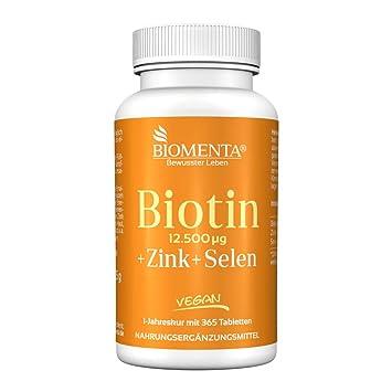 Biomenta BIOTINA dosis alta 12.500 µg + Cinc + Selenio - 365 VEGANO pastillas de biotina - para saludable Cabello, Piel y Uñas Año spa: Amazon.es: Salud y ...