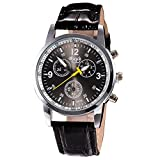 Han Shi Wristwatches, Mens Fashion Luxury Crocodile Faux Leather Stainless Steel Analog Watch
