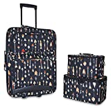 Ever Moda Designer Print Collection 3 Piece Carry On Rolling Luggage Set 20-inch (Arrow - Multi Color)