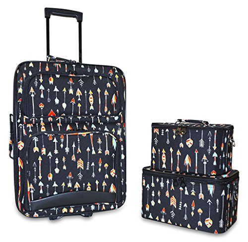 Ever Moda Designer Print Collection 3 Piece Carry On Rolling Luggage Set (3 Piece Print Luggage Set)