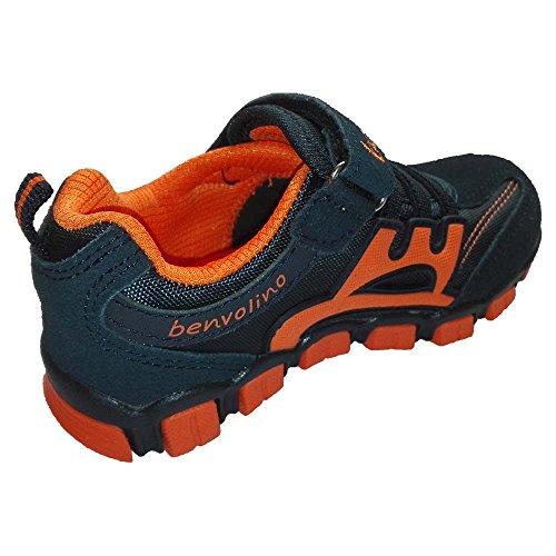 Benvolino Kinder Jungen Mädchen Sport Schuhe Sneaker Navy-Orange