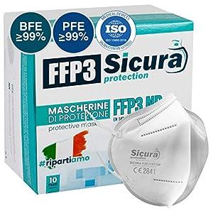 10 Masques de Protection FFP3 Certifié CE fabriqué en Italie – Masque pack unique – Classe de Filtration la Plus élevée…