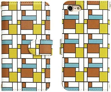 スマホケース 全機種対応 手帳型【AQUOS SERIE mini SHV31 オレンジコーナーパターン】かわいい 幾何学模様