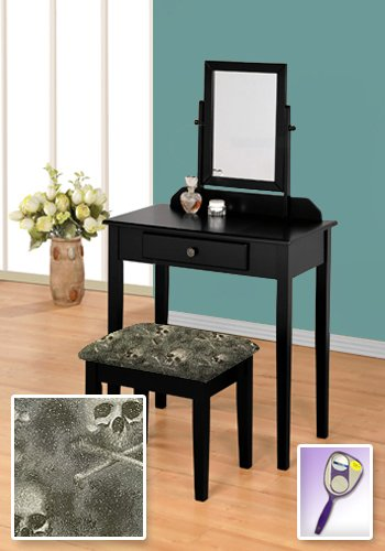 New Black Wooden Make Up Vanity Table with Mirror, Drawers Your Choice of Themed Bench Rosie The Riveter Yellow Vinyl