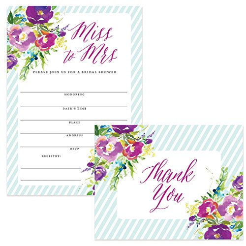 - 100 Bridal Shower Invitations & 100 Thank You Cards Large Group Bride Groom Big Family Occasion Striped 5x7