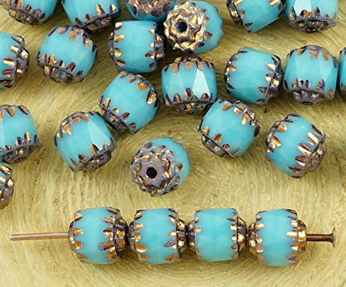 Turbine Spacers - 20pcs Metallic Bronze Luster Blue Turquoise Czech Glass Cathedral Faceted Fire Polished Beads Christmas 6mm
