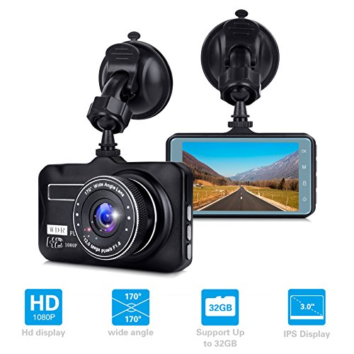 Dash Cam, 3 Inches FHD 1080P DVR Car Dashboard Camera, 170 Degree Wide Angle Car Video Recorder, On-Dash Camera Camcorder with G-Sensor, WDR, Loop Recording, Night Vision, Motion Detection