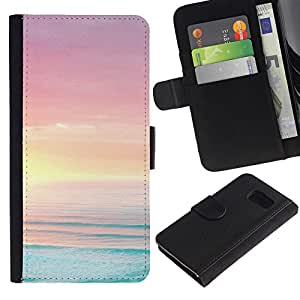 KingStore / Leather Etui en cuir / Samsung Galaxy S6 / Mar Océano Summer Sun Beach Purple