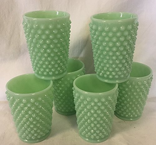 - Hobnail Pattern - Tumbler / Juice Glass - Jade Jadeite Green Glass - American Made - Mosser USA (6)