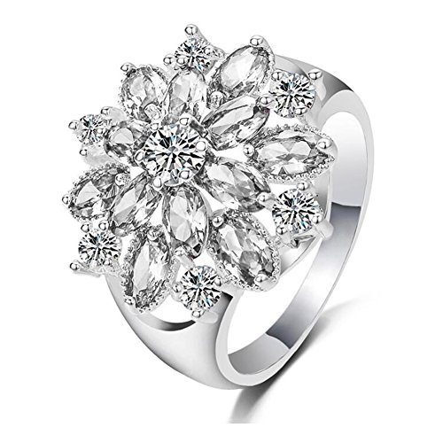 TEMEGO Women's Bloom Round Oval Prong Simulated Moissanite Filled Cluster CZ Platinum Plated Statement Flower Cocktail Engagement Rings - Oval Cluster Ring