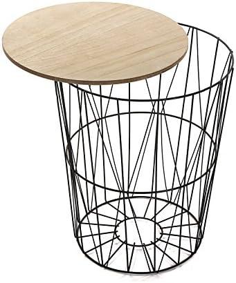 Versa 19500992 Mesa madera y metal Asti, 53x43x43cm,Auxiliar