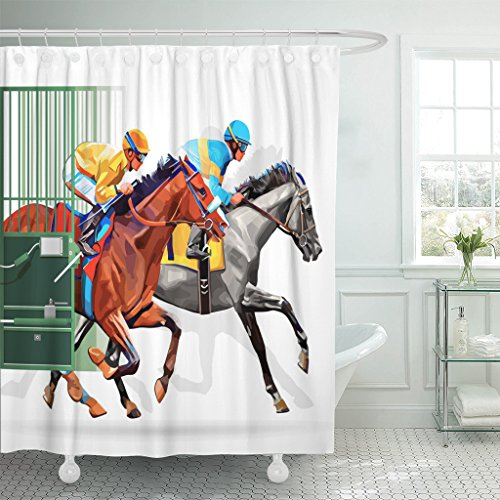 Breezat Shower Curtain Three Racing Horses Competing with Each Other Motion Blur to Accent Speed Start Gates for Races the Waterproof Polyester Fabric 72 x 72 Inches Set with Hooks for $<!--$25.99-->