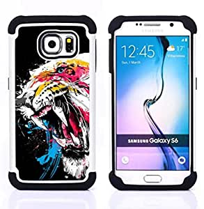 """Pulsar ( Tigre Rugido Dientes Arte de la acuarela Pintura de neón"""" ) Samsung Galaxy S6 / SM-G920 SM-G920 híbrida Heavy Duty Impact pesado deber de protección a los choques caso Carcasa de parachoques"""