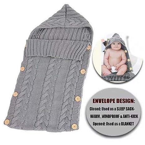 TotallyFashion - Manta de ganchillo unisex para bebé recién nacido, saco de dormir para bebé