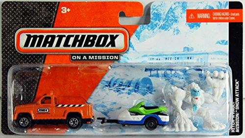 Matchbox Hitch & Haul - SNOW ATTACK (Orange Truck, Snowmobile, Bigfoot) (Bigfoot Mobile compare prices)