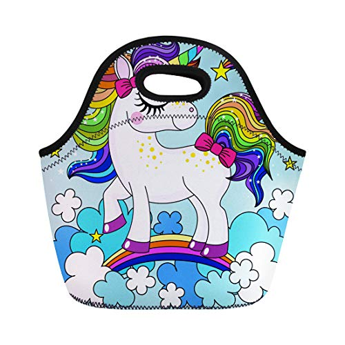 Semtomn Lunch Bags Blue Beautiful Cute Cartoon Rainbow Unicorn in the Clouds Neoprene Lunch Bag Lunchbox Tote Bag Portable Picnic Bag Cooler Bag